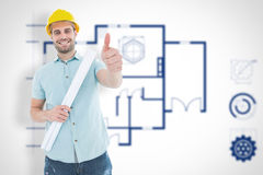 Composite image of male architect with blueprint gesturing thumbs up Stock Image