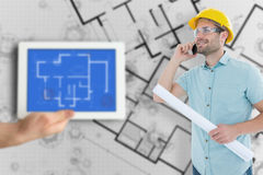 Composite image of male architect with blueprint talking on mobile phone Royalty Free Stock Photos