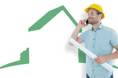 Composite image of male architect with blueprint talking on mobile phone Stock Images