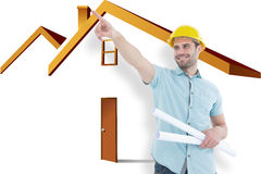 Composite image of male architect with blueprints pointing away Stock Photos
