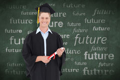Composite image of a male graduate with his degree in hand Royalty Free Stock Images