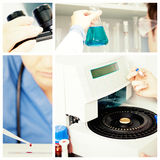 Composite image of male laboratory assistant using a centrifuge. Male laboratory assistant using a centrifuge against blondhaired female scientist preparing a Stock Image