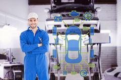 Composite image of male mechanic standing arms crossed on white background. Male mechanic standing arms crossed on white background against auto repair shop Stock Image
