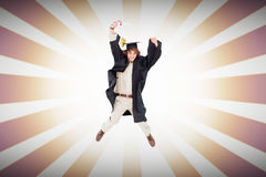Composite image of male student in graduate robe jumping. Male student in graduate robe jumping against linear design Stock Photography