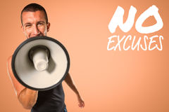 Composite image of male trainer yelling through megaphone Stock Photography