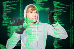 Composite image of man with black gloves hitting glass Stock Images