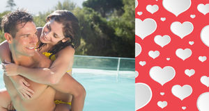 Composite image of man carrying cheerful woman by swimming pool Royalty Free Stock Photography