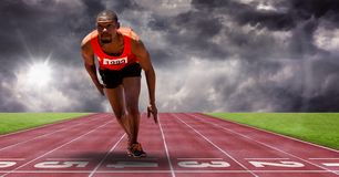 Composite image of man doing sport. Digital composite of Composite image of man doing sport Royalty Free Stock Photo