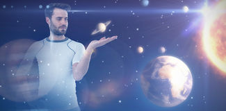 Composite image of man gesturing while standing with hand on hip 3d Stock Photos