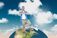 Composite image of man with grey hair in tree pose Royalty Free Stock Photos