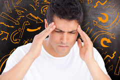 Composite image of man with headache Royalty Free Stock Images