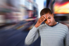 Composite image of man with headache Royalty Free Stock Photo