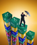 Composite image of man holding umbrella to protect himself from the rain Royalty Free Stock Photos