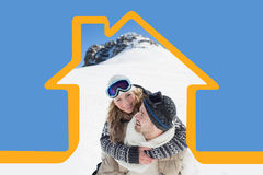 Composite image of man piggybacking cheerful woman against snowed hill Stock Photos