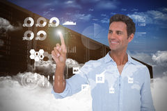 Composite image of man pointing at something on white background Royalty Free Stock Photos
