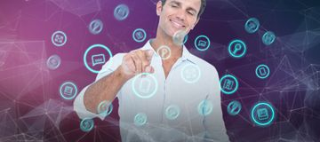 Composite image of man pointing at something on white background. Man pointing at something on white background  against pink and purple colors background Royalty Free Stock Image