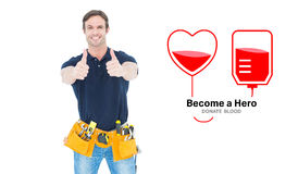 Composite image of man wearing tool belt while showing thumbs up sign Stock Illustration