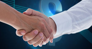 Composite image of man and woman doing formal handshake Stock Photos