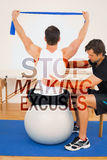 A Composite image of man on yoga ball working with a physical therapist Stock Photos