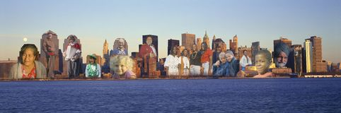 Composite image of Manhattan New York skyline with many people superimposed on the buildings Royalty Free Stock Images