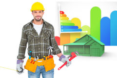 Composite image of manual worker holding various tools Stock Photos