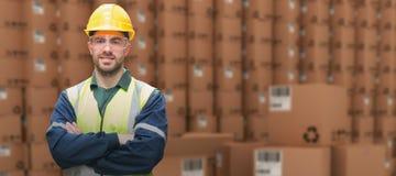 Composite image of manual worker wearing hardhat and eyewear Stock Photo