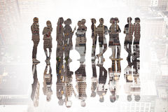 Composite image of many business people standing in a line Royalty Free Stock Photo