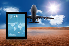 Composite image of map on tablet screen Royalty Free Stock Images