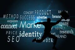Composite image of marketing buzzwords on black background Stock Image