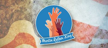 Composite image of martin luther king day with hands. Martin Luther king day with hands against american flag with stripes and stars royalty free stock photo