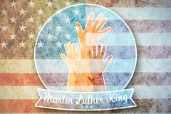 Composite image of martin luther king day with hands. Martin Luther king day with hands against american national flag with stars and stripes royalty free stock photos