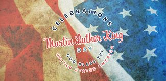 Composite image of martin luther king day. Martin Luther king day against close-up of crumbled american flag royalty free stock photography