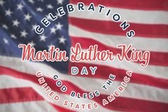 Composite image of martin luther king day. Martin Luther king day against close-up of an flag royalty free stock photo