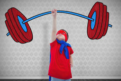 Composite image of masked boy pretending to be superhero on white screen Royalty Free Stock Photography