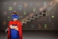 Composite image of masked girl pretending to be superhero. Masked girl pretending to be superhero against composite image of steps moving up Stock Images