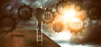 Composite image of mature businessman climbing career ladder Stock Image