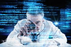 Composite image of mature businessman running diagnostics Stock Photos
