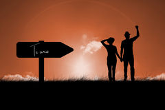 Composite image of mature couple walking and holding hands Stock Images