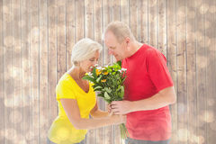 Composite image of mature man offering his partner flowers Stock Image