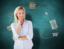 Composite image of mature student smiling royalty free stock photo