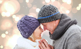 Composite image of mature winter couple Stock Photos