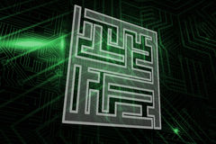 Composite image of maze. Maze against green and black circuit board Royalty Free Stock Images