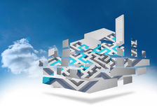 Composite image of maze and arrow on abstract screen Stock Images