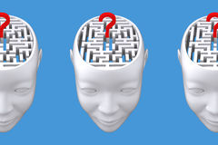 Composite image of maze as brain. Maze as brain against blue background Stock Image