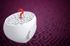 Composite image of maze as brain with question mark. Maze as brain with question mark against difficult maze puzzle Stock Photo
