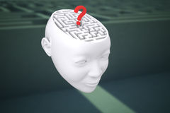 Composite image of maze as brain with question mark. Maze as brain with question mark against entrance to difficult maze puzzle Royalty Free Stock Photos