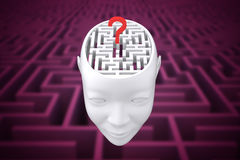 Composite image of maze brain in head. Maze brain in head against difficult maze puzzle Royalty Free Stock Image