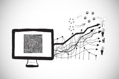 Composite image of maze on computer screen with arrows doodle Stock Images