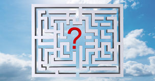 Composite image of maze question mark. Maze question mark against blue sky Royalty Free Stock Photography