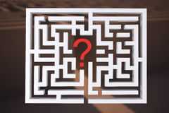 Composite image of maze question mark. Maze question mark against entrance to difficult maze puzzle Royalty Free Stock Photo